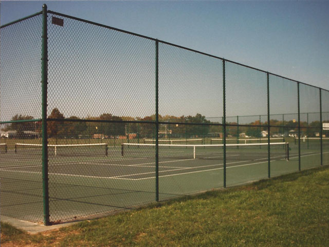 Chain link fence for public tennis courts