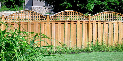 Cedar Shadowbox Fence with arched lattice