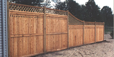 Privacy wood fence with diagonal lattice