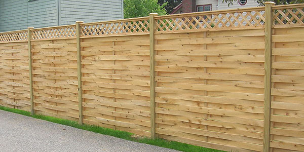 good how to build a basket weave fence #4: Good Neighbor Basketweave Fence With Diagonal Lattice