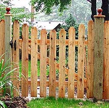 Custom wood gate designs by elyria fence a cleveland fence company classic wooden gate wood pergola with semi private wood fence by elyria fence solutioingenieria Image collections