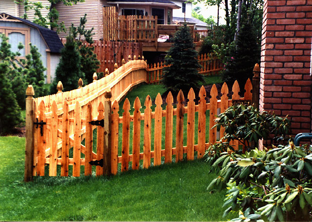 Beautiful Picket Fence Post Cedar Wooden By Elyria On Design Inspiration