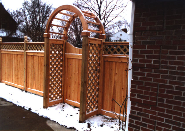 Wood Arbor With A Gate