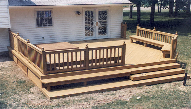 Deck With Benches And Hot Tub