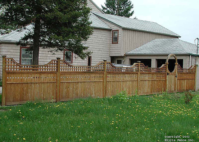 Privacy Wood Fence With Scalloped Square Lattice, Gate & Halo by Elyria Fence