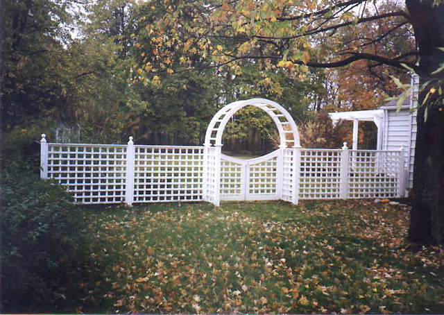 White cedar wood square lattice fence, gate, garden arch by Elyria Fence
