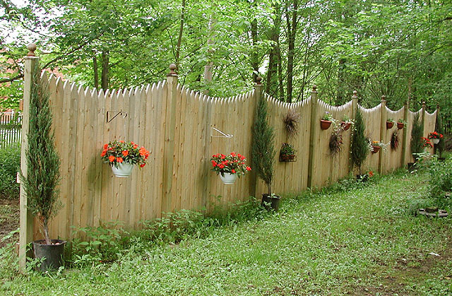 White Cedar Wood Privacy Picket Fence by Elyria Fence