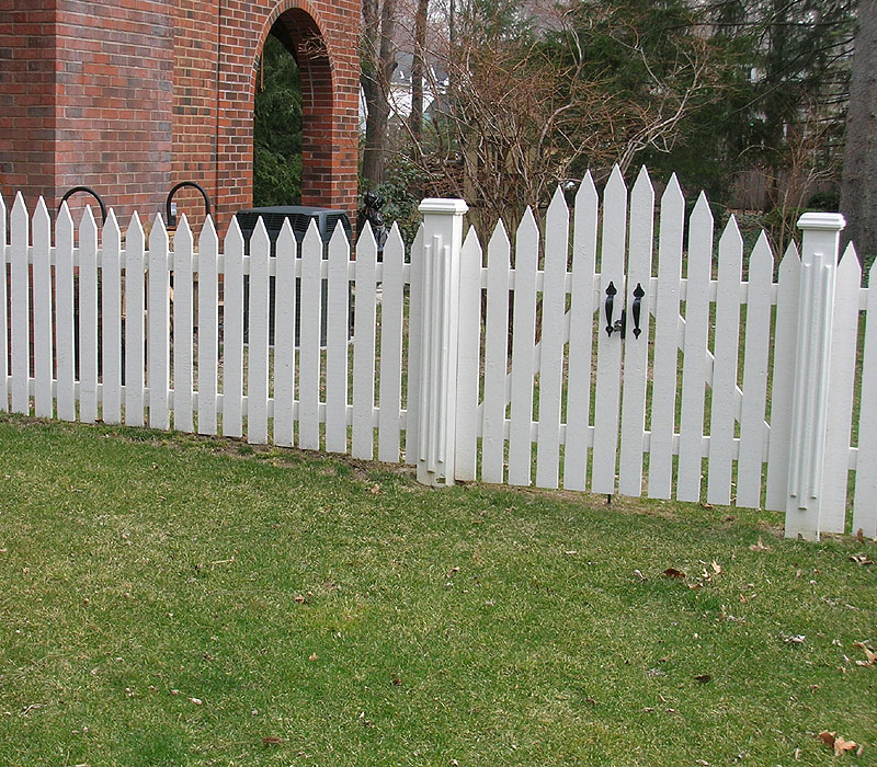 White Cedar Wooden Picket Fence & Arched Picket Gate by Elyria Fence