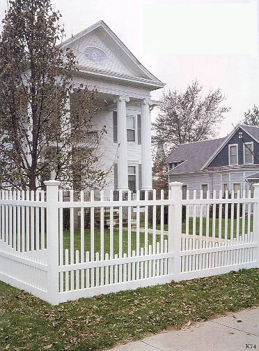 Vinyl Seaport Picket Fence by Elyria Fence