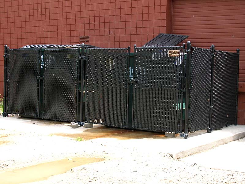 Black Vinyl Coated Chain Link Dumpster Enclosure By Elyria