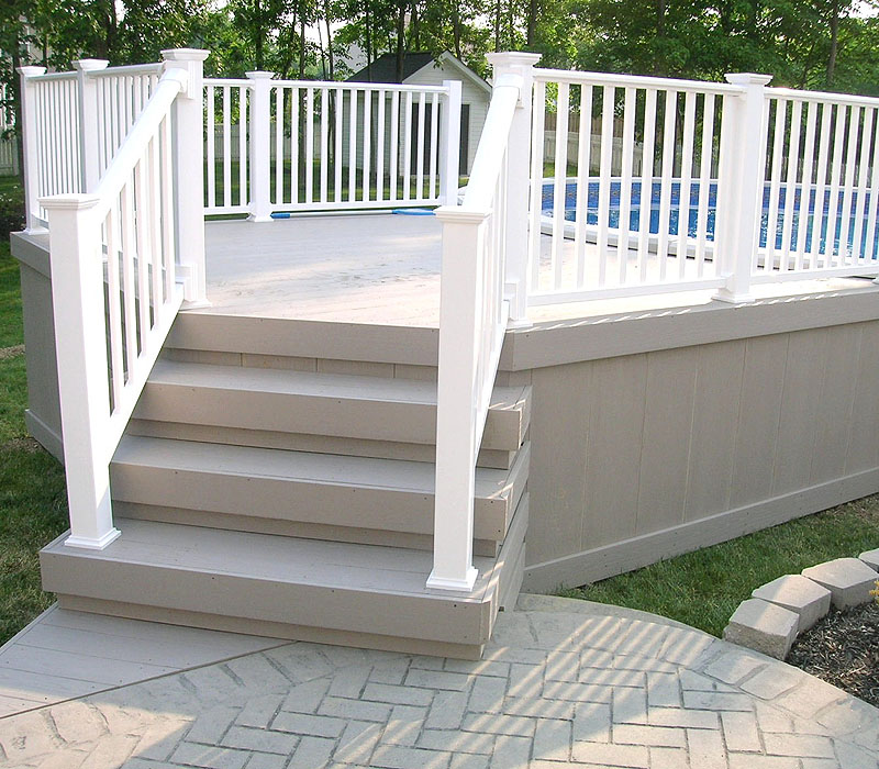 Vinyl pool fence deck railing pool area fences - Vinyl railing reviews ...