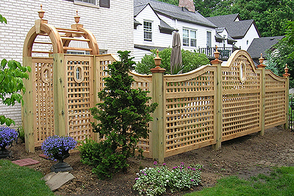 Garden Wood Fence : ... Square Lattice Wood Fence With Portholes & Garden Arch by Elyria Fence