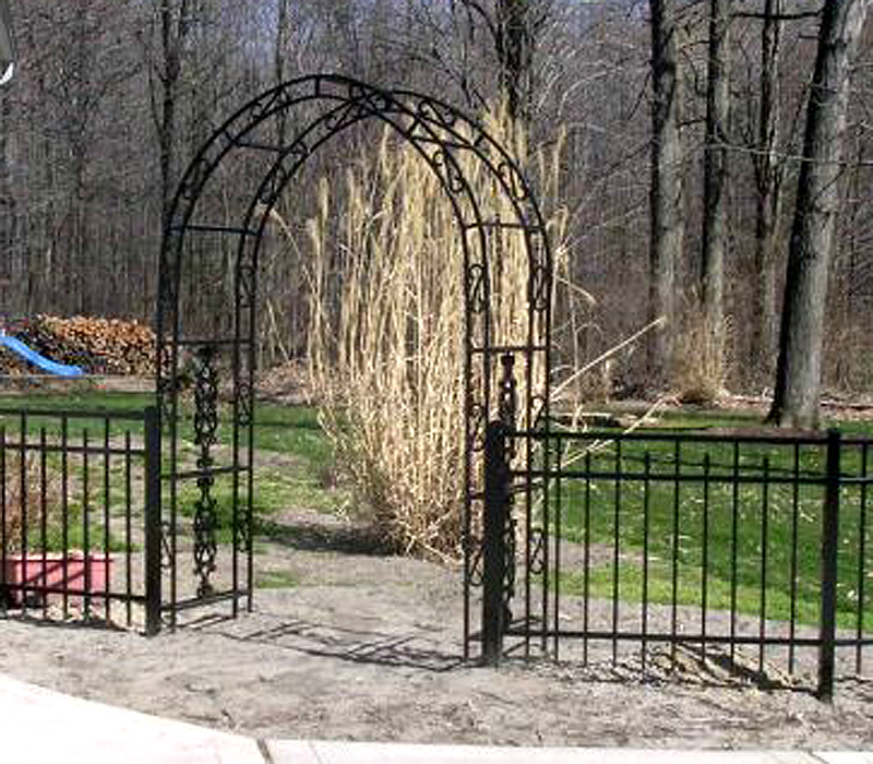 Ornamental aluminum metal arbor by elyria fence for Fence with arbor