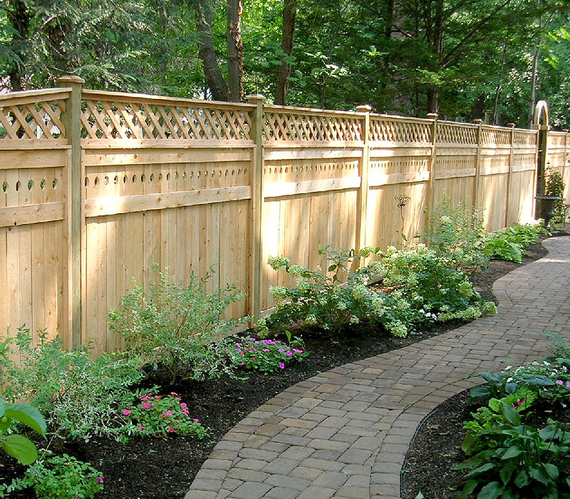 Good Neighbor Privacy Wood Fence With Diagonal Lattice By