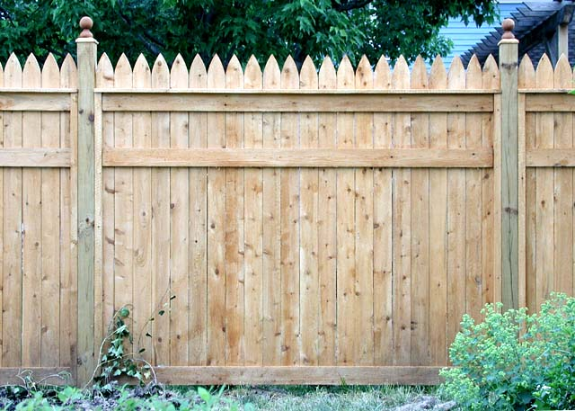 White Cedar Wood Privacy Picket Fence Design By Elyria Fence