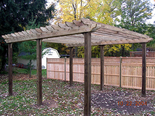 Pergola with Semi-private Good Neighbor with Square Lattice Fence By ...