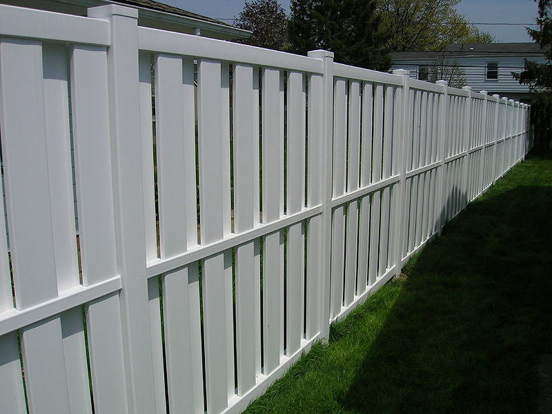 Vinyl Board on Board (Shadow box) Privacy Fence by Elyria Fence