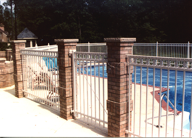 White Ornamental Aluminum Pool Fence By Elyria Fence