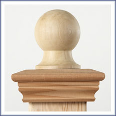 Redwood Decorative Post Cap and Finial Ball