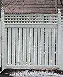 semi private wood fence with square lattice by elyria fence