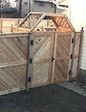 wood privacy fence with diagonal board pattern by elyria fence