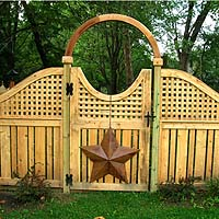 Arched square lattice with semi private wood fence by Elyria Fence