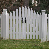 spaced arched white cedar wooden colonial picket gate  by elyria fence