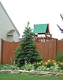 scalloped white cedar wood privacy fence by elyria fence