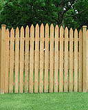 spaced arched white cedar wood picket fence by elyria fence