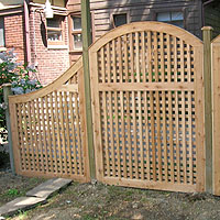 wood arched square lattice vine trellis by Elyria Fence