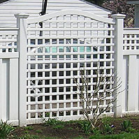 Arched Vinyl Square Lattice by Elyria Fence