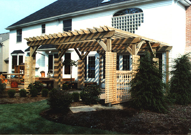 Custom Pergola With Square Lattice Vine Trellis Panels By Elyria Fence