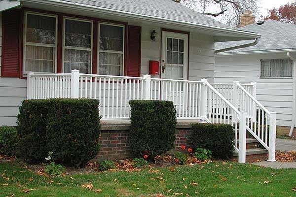 Vinyl Porch Railing With Standard Spindle By Elyria Fence