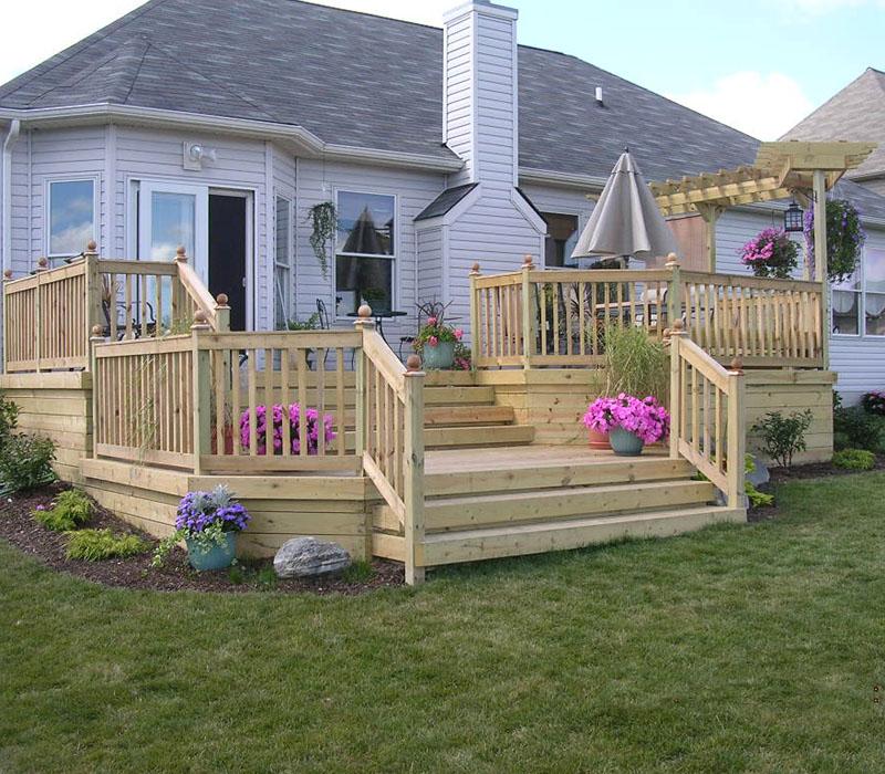 Custom Wood Deck By Elyria Fence on Wood Deck Ideas Backyard id=53420